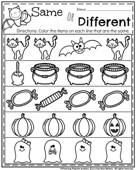 kindergarten activities same and different october preschool worksheets worksheets school and