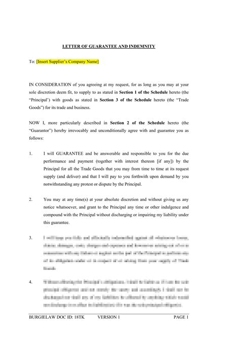 Letter of Guarantee and Indemnity (Supplier) Template