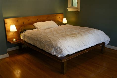 King Size Floor Bed Frame Bedroom Lacquered Reclaimed Wood King Bed Frame