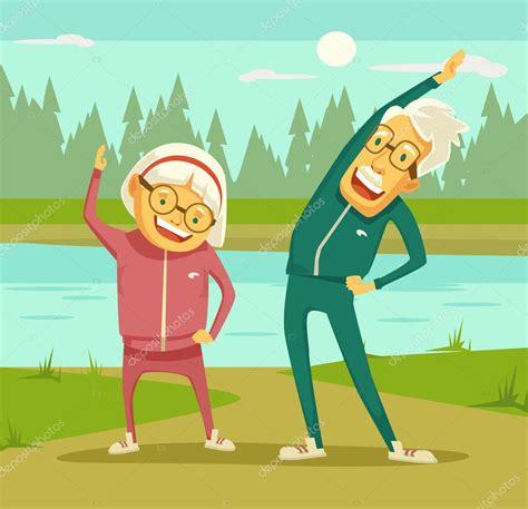 imagenes de abuelos alegres personas mayores haciendo ejercicios ilustraci 243 n de
