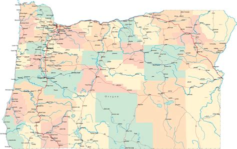 map of oregon with counties oregon road map or road map oregon highway map