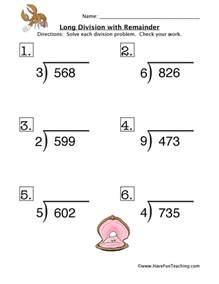 long division remainder worksheet 1