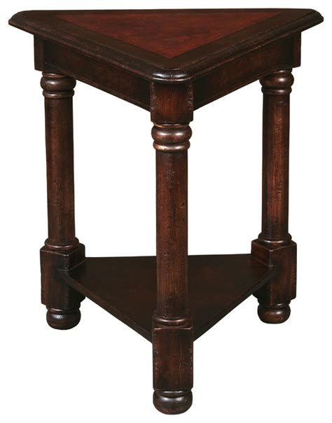 Triangle Accent Table Rosabela Painted Leather Triangle Table Traditional Side Tables And End Tables By