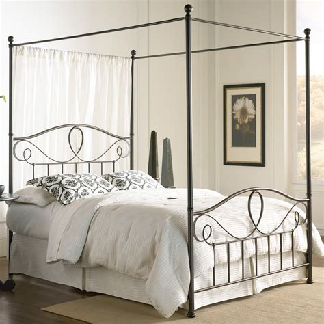 canopied bed sylvania iron canopy bed in french roast humble abode