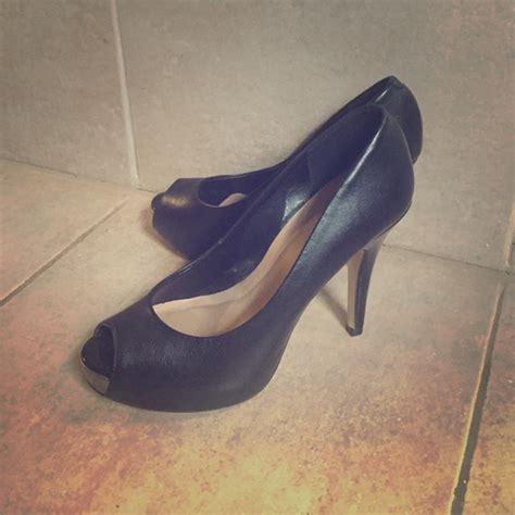 via uno shoes black leather peep toe poshmark