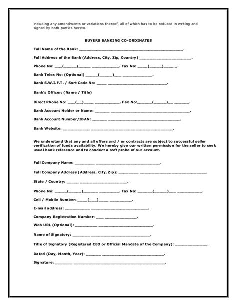 Irrevocable Letter Of Intent To Purchase Commodities 1 Loi Letter Of Intent
