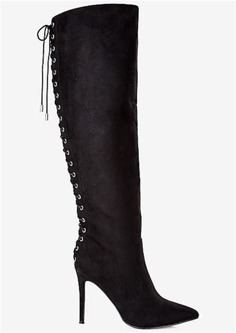 express faux suede lace up knee high heeled boot shoes