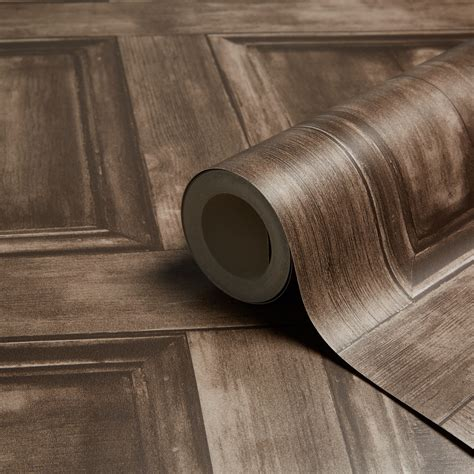 Fine décor Choc Wood panel Wallpaper   Departments   DIY