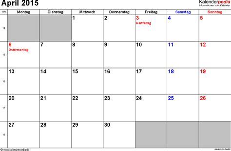 Calendar 2015 April Pdf Kalender April 2015 Als Pdf Vorlagen