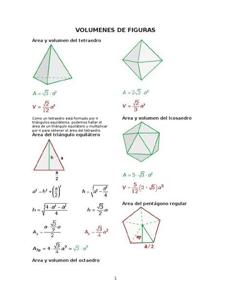 figuras geometricas area y volumen volumen y area de figuras geometricas