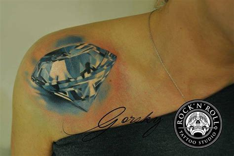 realistic diamond tattoo shoulder realistic by rock n roll