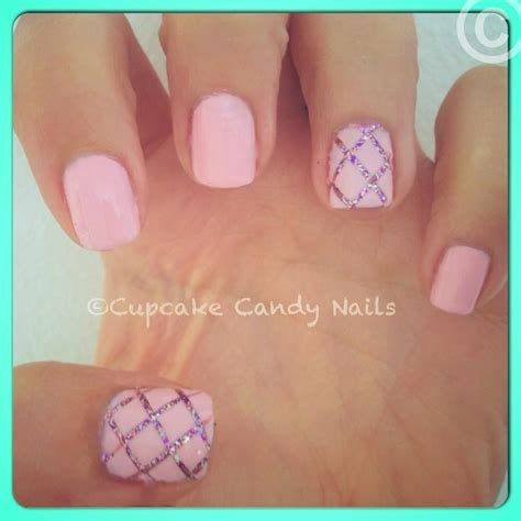 easy nail art glitter cupcake candy fashion nails quilted glitter simple