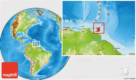and tobago on the world map physical location map of and tobago