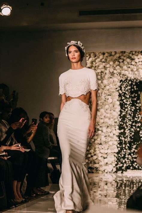 reem design instagram reem acra wedding dress crop top high waist skirt bridal