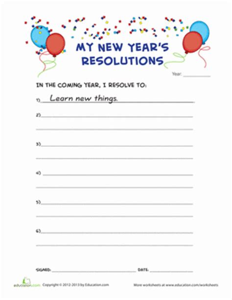 new years resolution worksheet new year s resolution worksheet education
