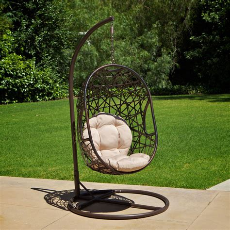 outdoor swinging egg chair outdoor patio furniture modern design swinging egg wicker