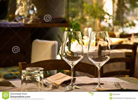 Glasses Table Setting Wine Glasses And Table Setting In Restaurant Stock Images Image 33224584