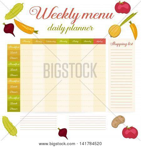 breakfast lunch and dinner menu template paper note week healthy daily routine