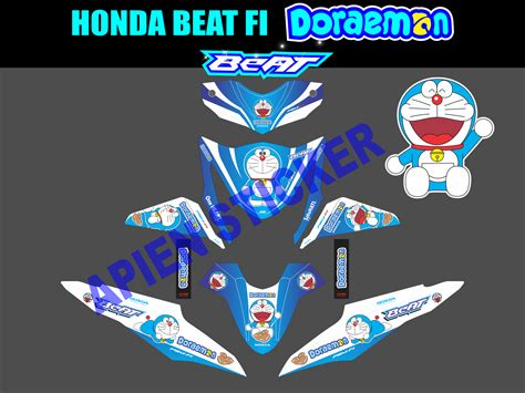 striping motor beat fi doraemon apien sticker