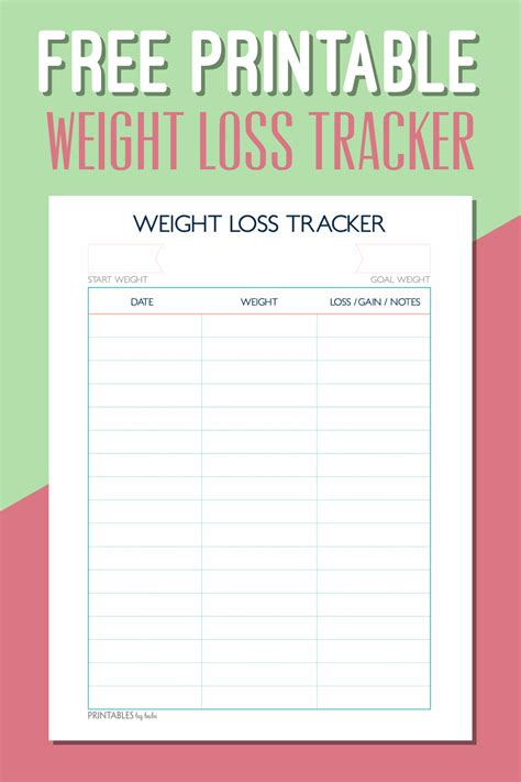 a journey to thin weight loss tracker free printable health pins