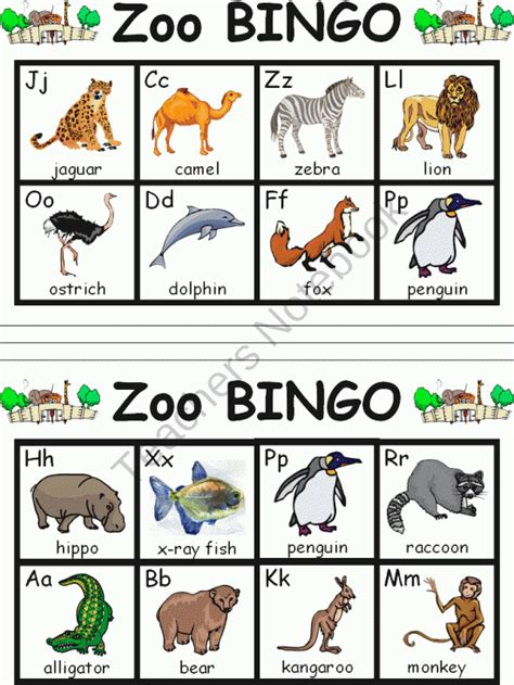 printable animal bingo for preschoolers zoo abc bingo from sharons shop on teachersnotebook com 8