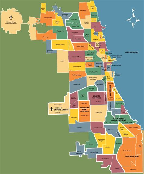 chicago suburb map chicago neighbourhood map places to go