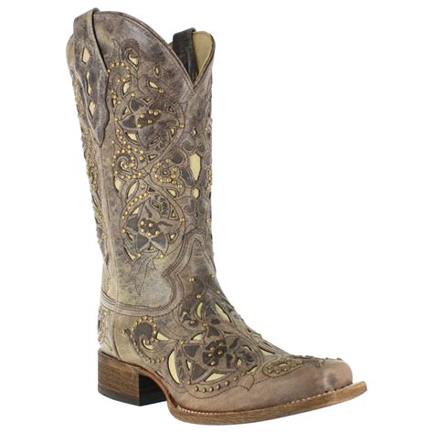 corral vintage inlay and stud square toe western boots for
