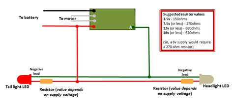 resistor pad values using leds with rct deltang receivers