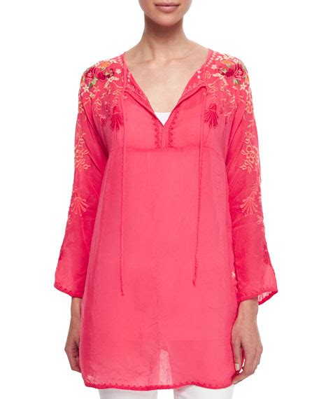 Blouse Jessyca johnny was collection tie neck embroidered blouse