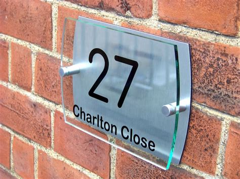 Glass Door Numbers Plaques Modern House Sign Plaque Door Number Glass Effect Acrylic Aluminium A015