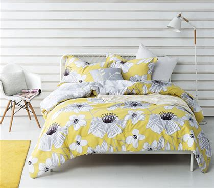 twin xl bedding sets for dorms yellow flowered twin xl comforter buy dorm room comforter