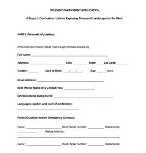 participant registration form template 15 college application templates free sle exle