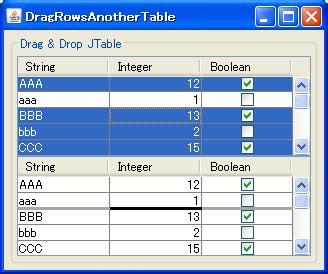 swing jtable exle java swing tips drag rows from one jtable to another jtable