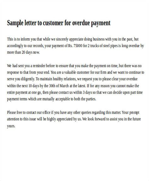 Customer Payment Letter formal request letters