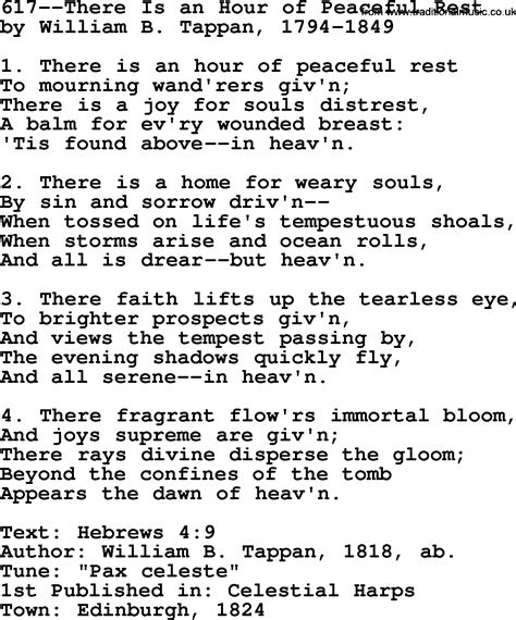 There S A Place Of Rest Lyrics Lutheran Hymns Song 617 There Is An Hour Of Peaceful Rest Lyrics And Pdf