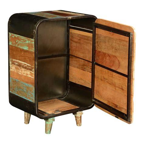 Iron Nightstand Retro Rainbow Reclaimed Wood Iron Nightstand End Table