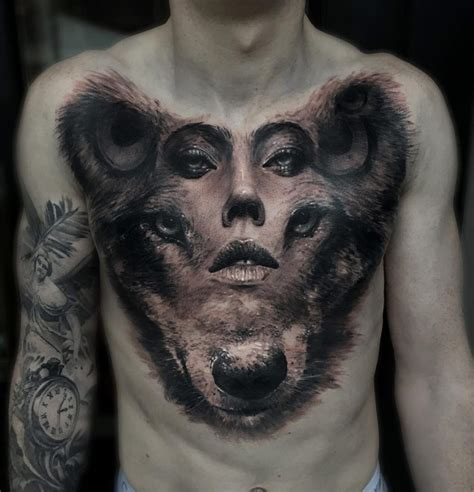 wolf amp woman s portrait merged best tattoo design ideas