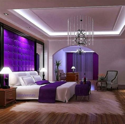 purple accent wall bedroom