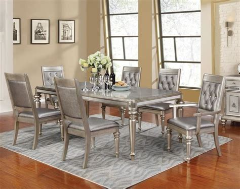 dining room 7pc dining set formal dining table chairs danette formal dining room group metallic platinum 7pc