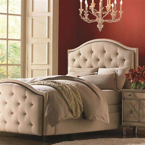bed with padded headboard bassett custom upholstered beds queen vienna upholstered headboard and high footboard bed dunk