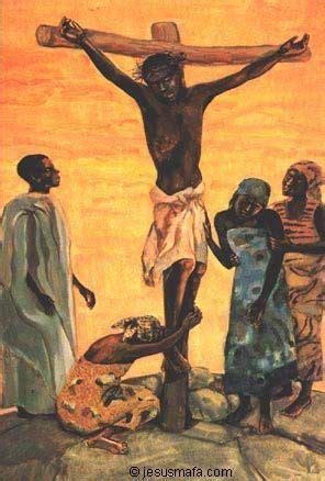 painting on mafa crucifixion of jesus style ethnic christian