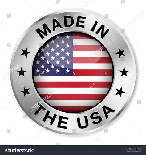 made usa silver badge icon central stock vector 163518596