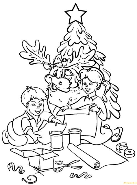 chrildren  reindeer  decorating christmas tree coloring page  coloring pages