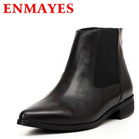 low motorcycle boots enmayes fashion pointed toe flats ankle boots