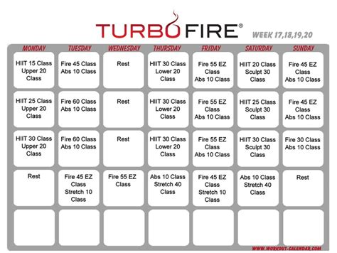 turbo schedule weeks 17 20 beachbody