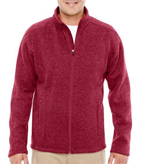 Sweater Ori Fleace Tebal custom mens zip sweater fleece jacket