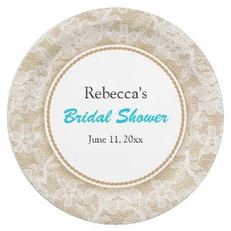 Bridal Shower Plates by Burlap And Lace Personalized Bridal Shower 9 Inch Paper Plate