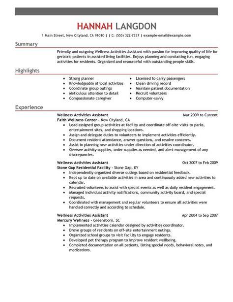 best wellness activities assistant resume exle livecareer