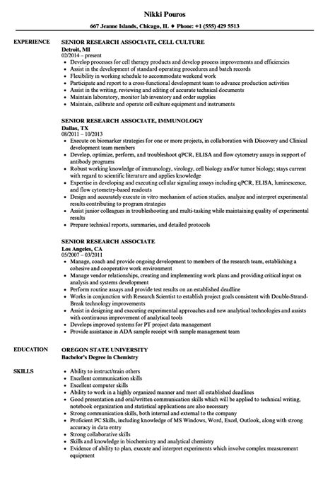 Research Associate Resume by Senior Research Associate Resume Sles Velvet