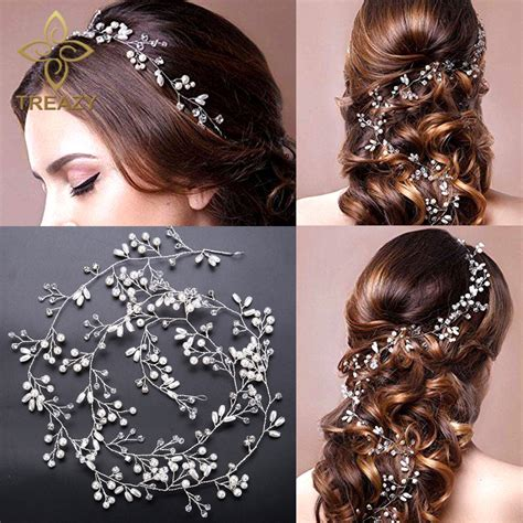 Hair Ornaments Imitation Pearl Headband treazy imitation pearl hair band wedding hair jewelry hair accessories handmade